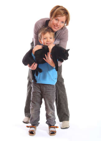 mother and son with cat isolated on white background Stock Photo - 8606349
