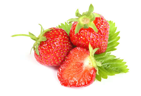 Fresh ripe strawberry on white background - close up