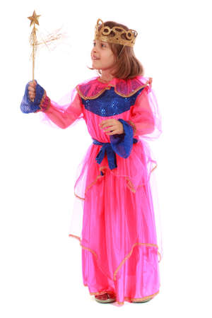 toyshop: Young girl as magic fairy on white background