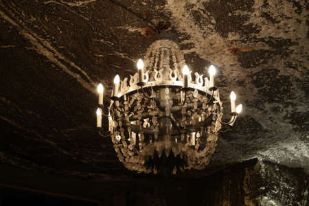 Salt chandelier in Wieliczka salt mine. Poland Stock Photo - 11917207