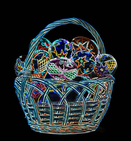 Abstract colorful Easter Eggs in wicker basket Stock Photo - 12794468