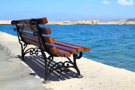 Bench at Old Harbor in Chania, Greece