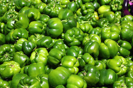 Fresh green sweet pepper, cooking raw material