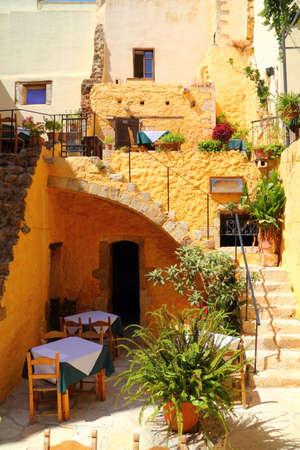 cafe taverna restaurant setting in greek islands - Santorini
