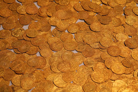Old gold coins in British Museum - background