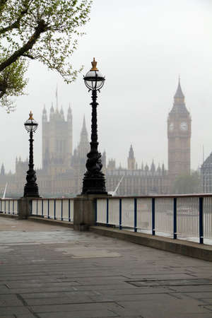 Big Ben   Houses of Parliament, view in fog  photo