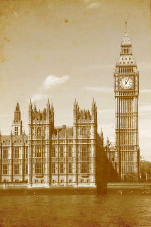 Buildings of Parliament with Big Ben tower in London UK - vintage paper textures.