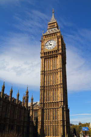 Close up of Big Ben Clock Tower Against Blue Sky England United Kingdom  Stock Photo