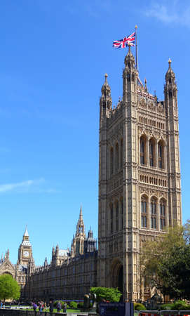 London, United Kingdom - Palace of Westminster (Houses of Parliament) with Big Ben clock tower.   Editorial