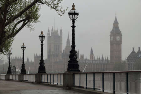 Big Ben , Houses of Parliament, view in fog
