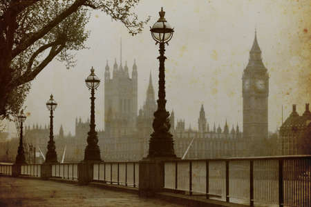 street lamp: Big Ben , Houses of Parliament, view in fog