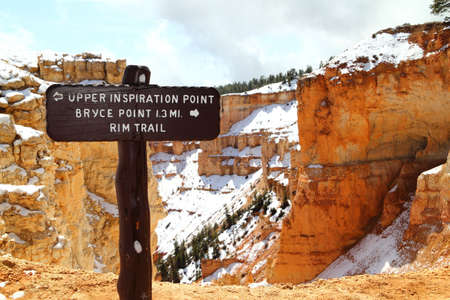 Wooden Sign Marker for Upper Inspiration Point at Bryce Canyon National Park in Utah, United States