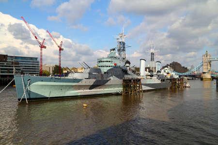 HMS Belfast and Tower Bridge in London