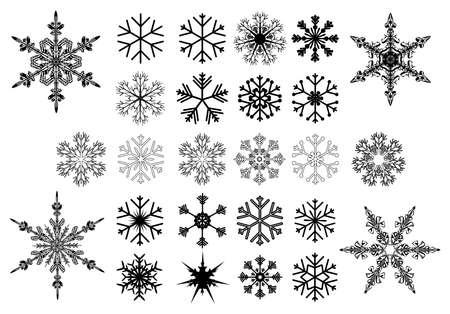 Set of black snowflakes on white