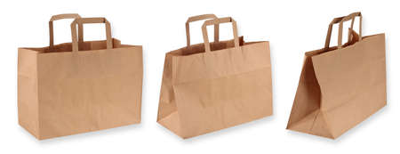 Brown paper shopping bags isolated on white background  Standard-Bild
