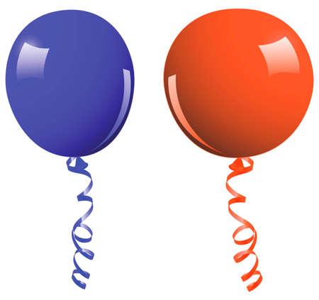 Blue and orange balloon - vector