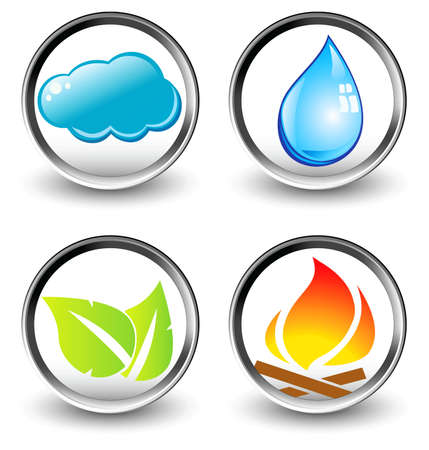 Vector symbols of four elements of nature - vector