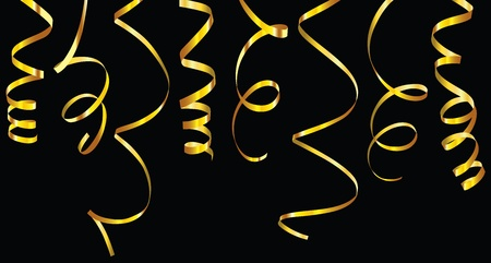Gold and silver curling ribbons or party serpentine for design.  Illustration