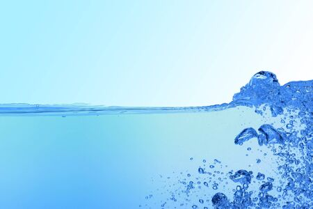 abstract blue water background with bubbles