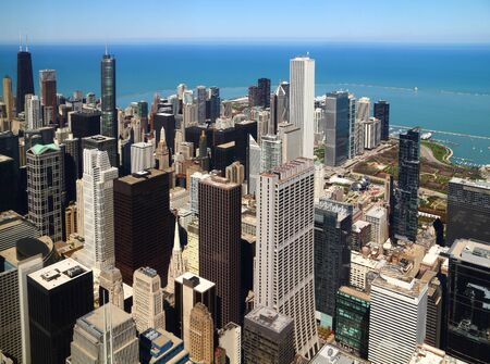 Chicago downtown aerial panorama view with skyscrapers and city skyline at Michigan lakefront. photo