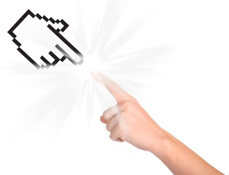 Computer cursor and hand isolated on white background