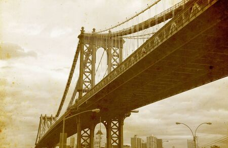 Bridge of New York City, U.S.A. - vintage paper textures.