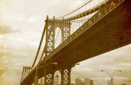 brooklyn: Bridge of New York City, U.S.A. - vintage paper textures.