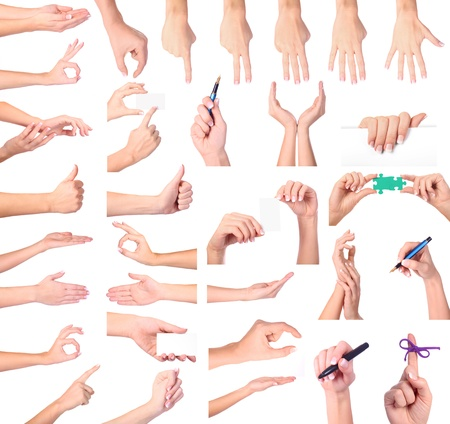 Set of woman hands isolated on white background Stock Photo