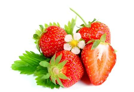 Fresh ripe strawberry on white background - close up