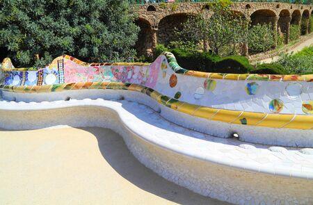 ceramic bench in Park Guell, Barcelona, Spain  Standard-Bild