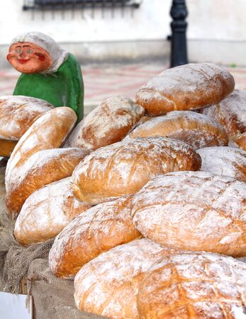 fresh baked bread at the country market - close up