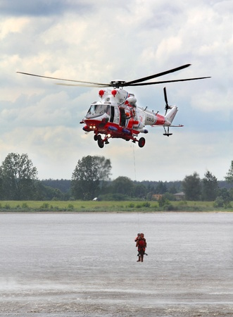 PLOCK, POLAND - JUNE 1: Polish Air Force Helicopter participates in the airshow event June 1, 2013 Plock, Poland.  Editorial