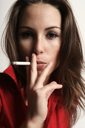 women smoking: Smoking woman Stock Photo