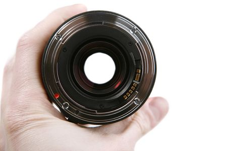 feature films: Hand holding a 35-mm photographic lens