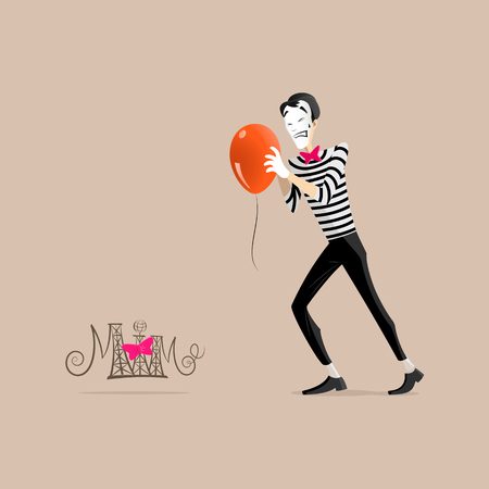 pantomime: A Mime performing a pantomime called trying hardly to get an orange balloon moving forward