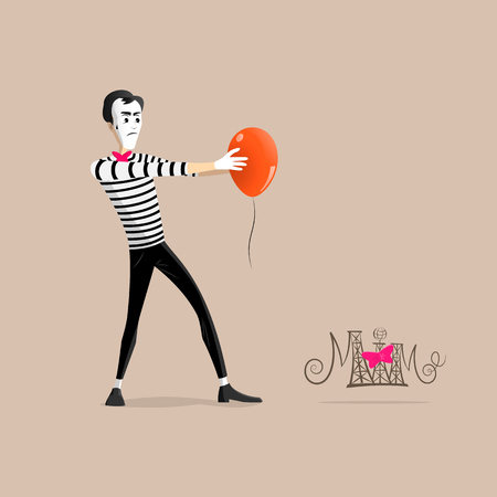 hypnotizing: A Mime performing a pantomime called hypnotizing an orange balloon Illustration