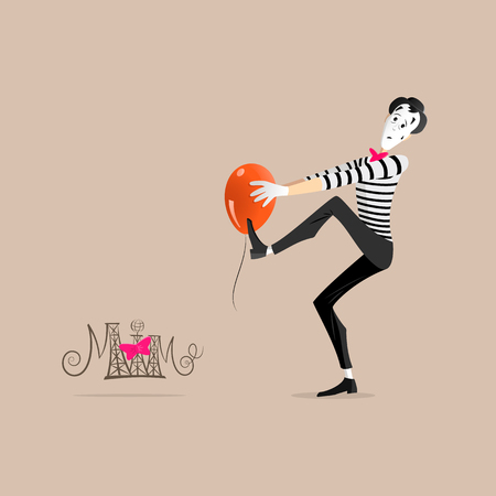 pantomime: A Mime performing a pantomime called sticking to an orange balloon