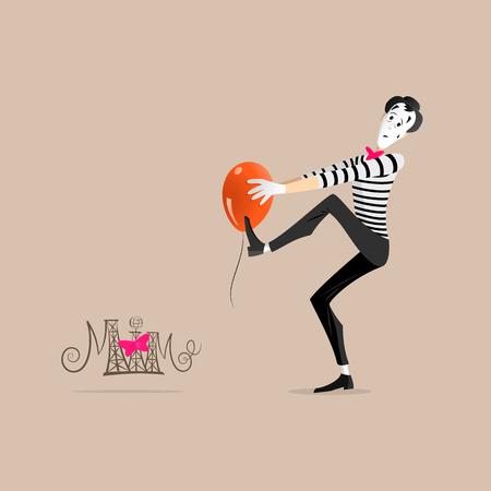 mimo: Un Mime realizar una pantomima llamada pegue a un globo de color naranja