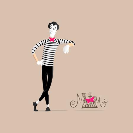 Un Mime realizar una pantomima llamada inclina contra la pared invisible Ilustración de vector