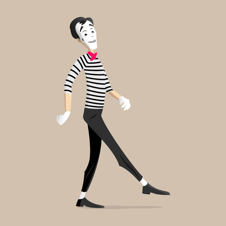 A Mime performing a pantomime called a walking in place