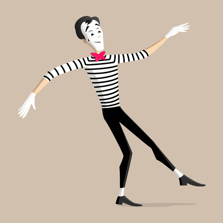 pantomime: A Mime performing a pantomime called walking the line