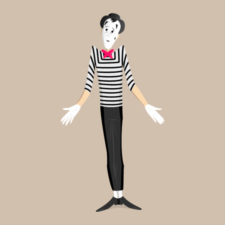 A Mime performing a pantomime called shrugging shoulders