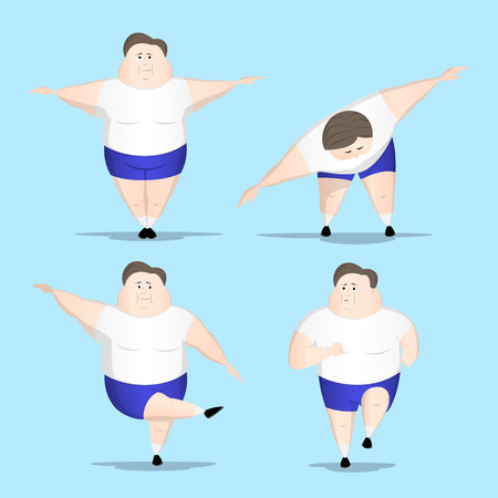 despite: Big man starts moving doing physical execises despite how hard it can be. Four isolated vectors