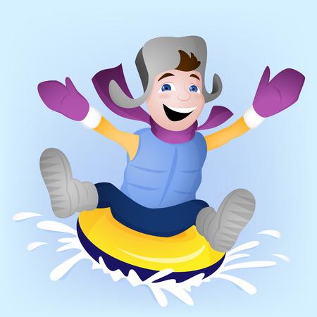 Winter family activity with boy snowtubing
