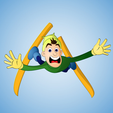 若い男は失敗したスキー ジャンプの結果として落下しながら叫び