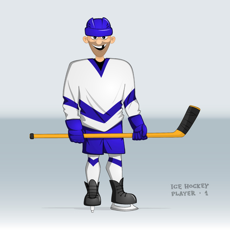 ice hockey player standing smiling without one tooth with stick in his hands Illustration