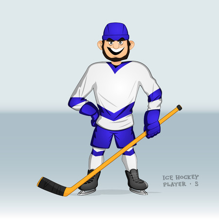 ice hockey player standing smiling with stick in his hand