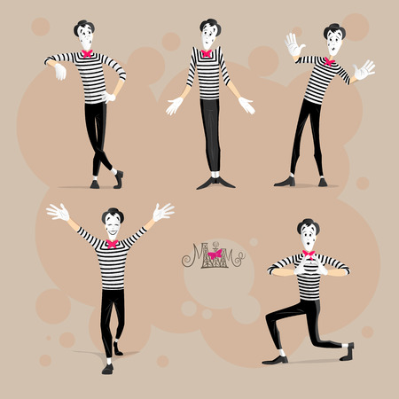 A Set of Mimes Performing Different Pantomimes