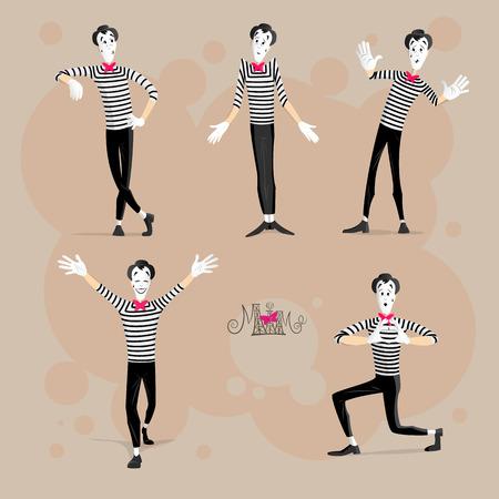 Un conjunto de mimos realización de diferentes Pantomimes