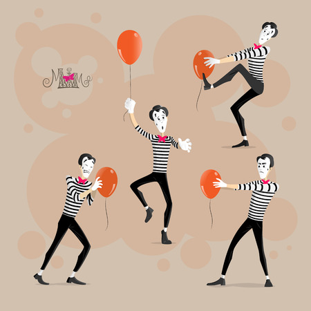 A Set of Mimes Performing Pantomimes with Balloons Called Hypnotizing, Moving, Sticking, Flying